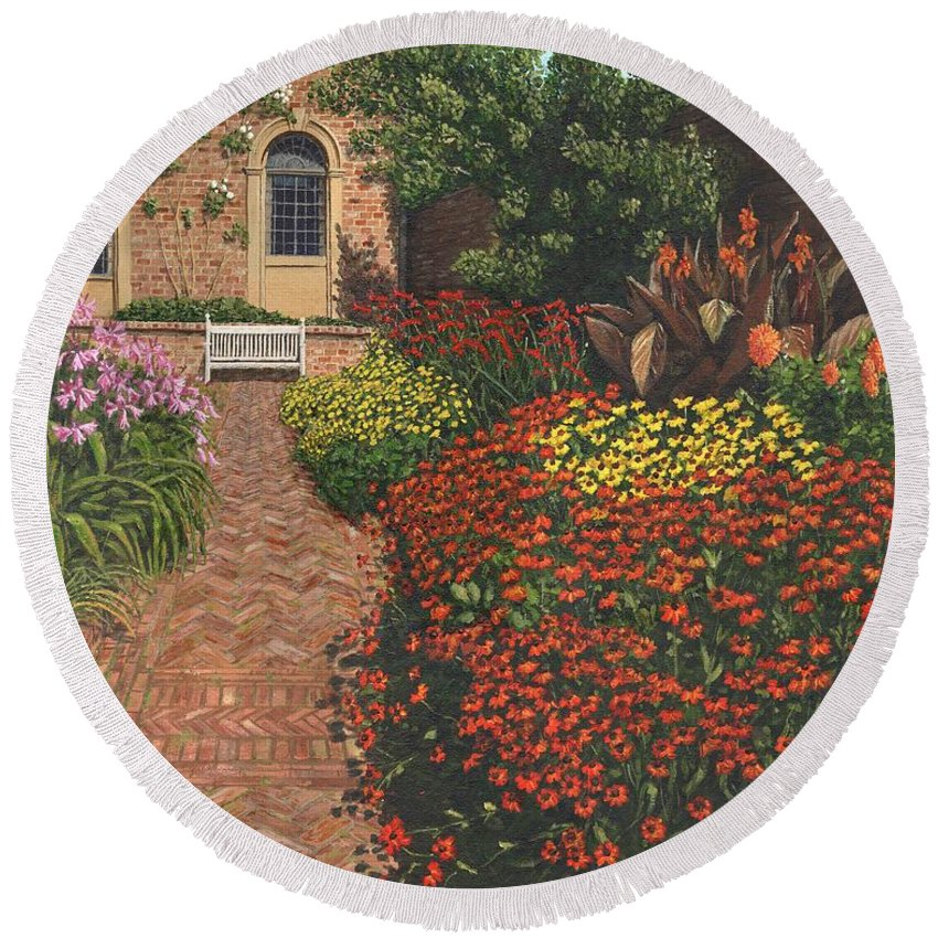 Landscape Round Beach Towel featuring the painting Barrington Court Gardens Somerset by Richard Harpum