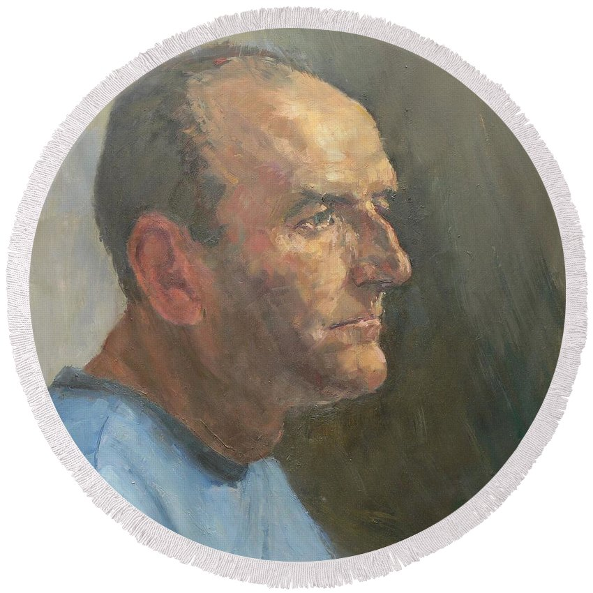 Male Round Beach Towel featuring the photograph Barry, 2008 Oil On Canvas by Pat Maclaurin