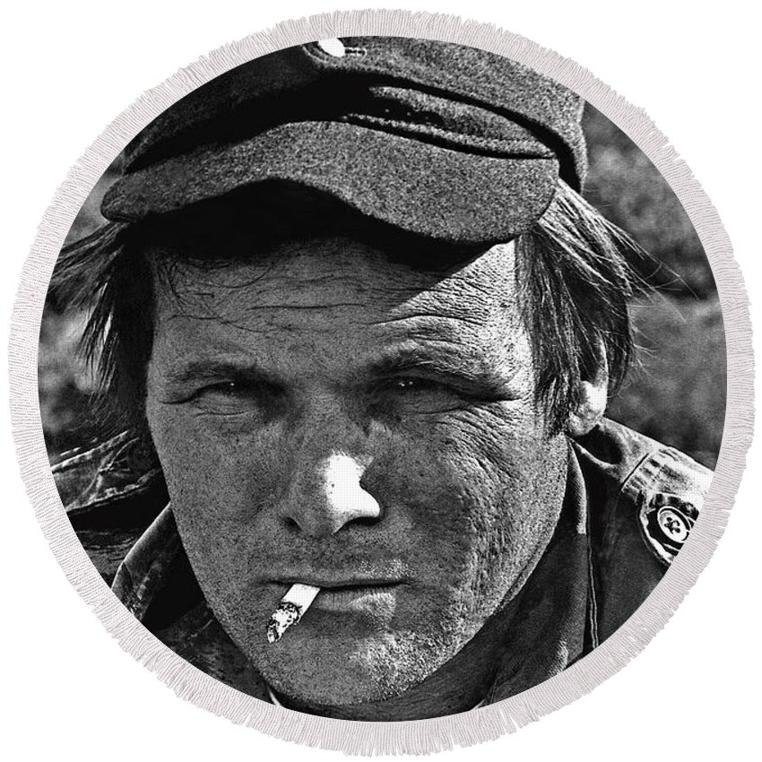 Barry Sadler The Green Berets Homage 1968 Tucson Arizona 1971 Round Beach Towel featuring the photograph Barry Sadler The Green Berets Homage 1968 Tucson Arizona 1971-2008 by David Lee Guss