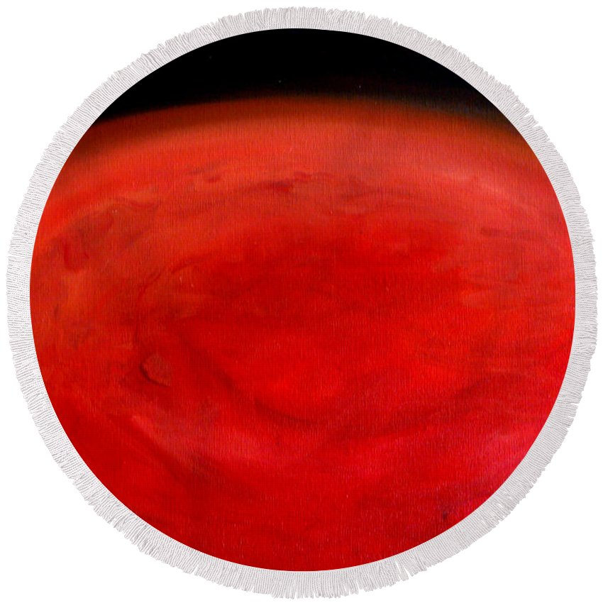 John Carter Of Mars Round Beach Towel featuring the painting Barsoom Mars The Red Planet by Katy Hawk