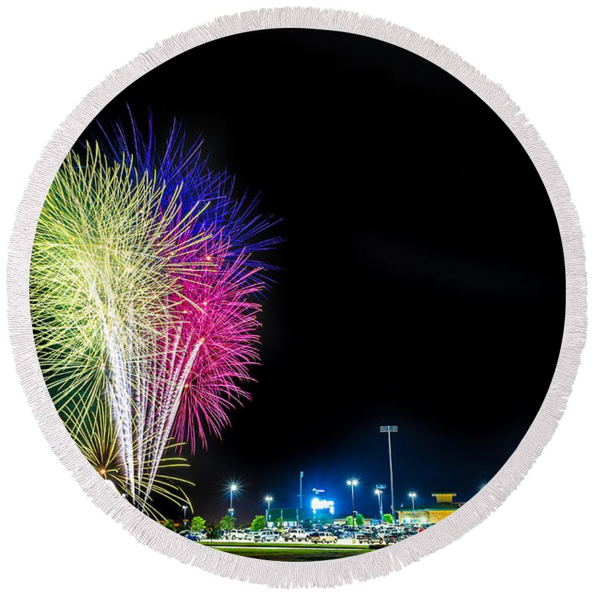 Baseball Round Beach Towel featuring the photograph Baseball And Fireworks by David Morefield