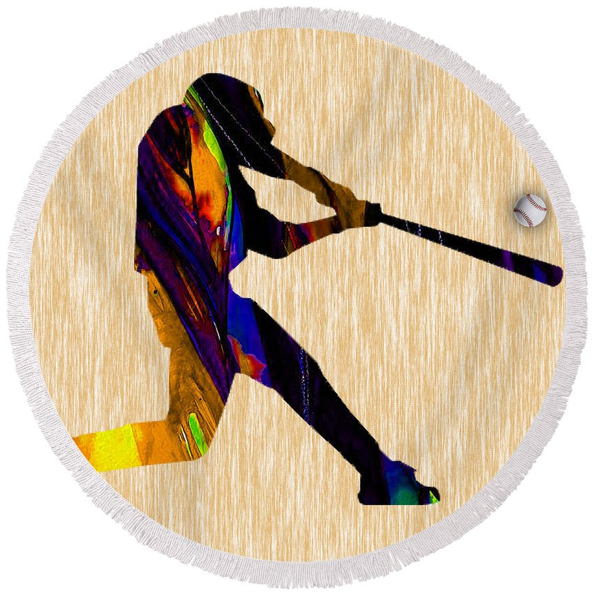 Baseball Round Beach Towel featuring the mixed media Baseball Game Art by Marvin Blaine