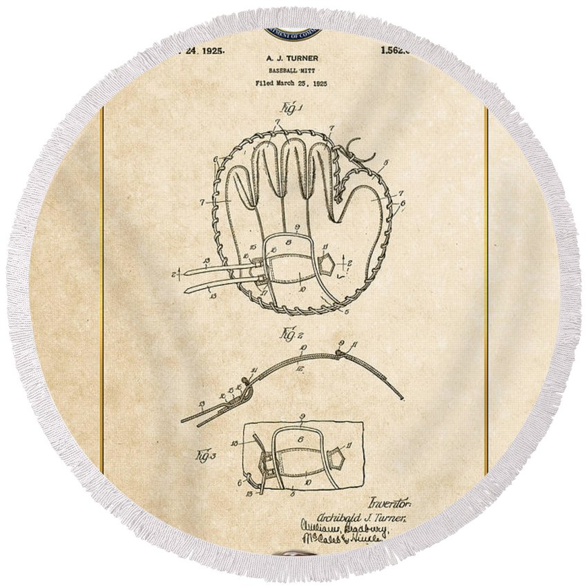 C7 Sports Patents And Blueprints Round Beach Towel featuring the digital art Baseball Mitt By Archibald J. Turner - Vintage Patent Document by Serge Averbukh