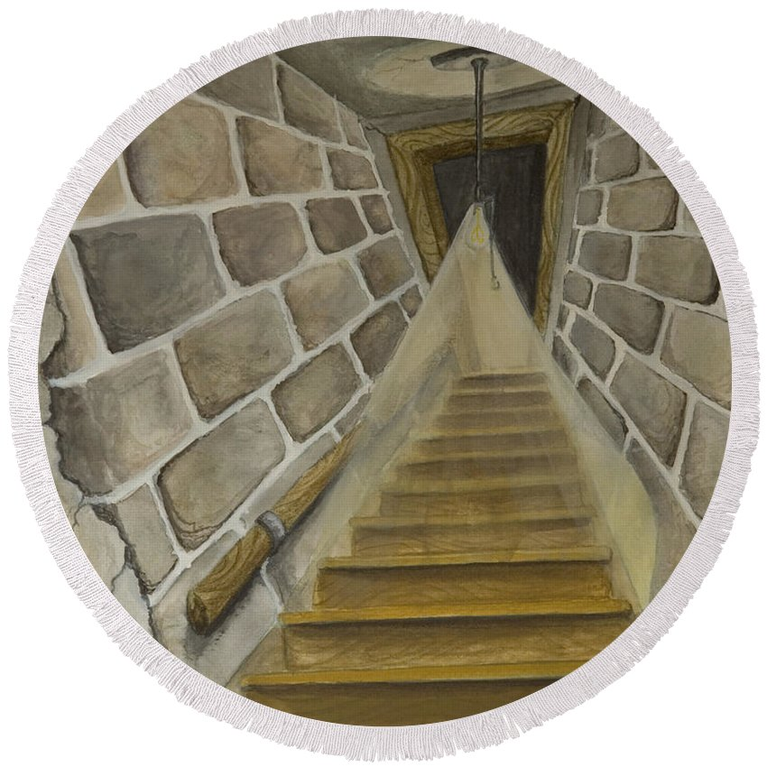 Animation Background Cartoon Watercolor Staircase Basement Creepy Round Beach Towel featuring the painting Basement Stairs by Brenda Salamone