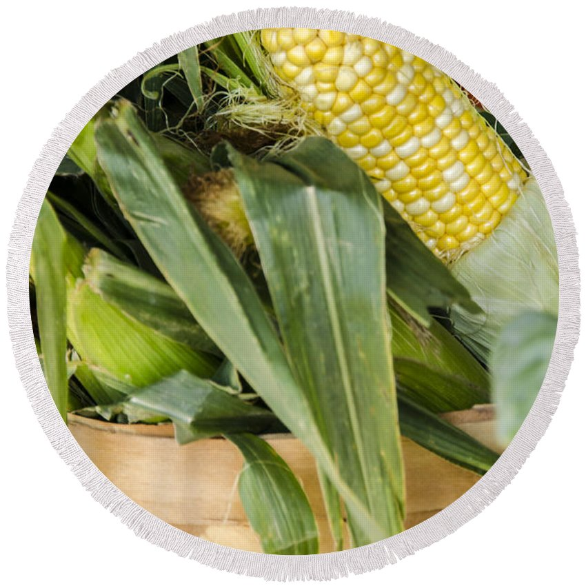 Corn Round Beach Towel featuring the photograph Basket Farmers Market Corn by Carolyn Marshall