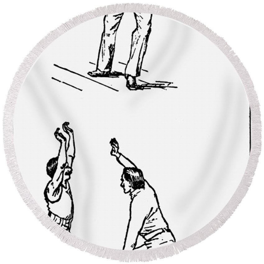 1893 Round Beach Towel featuring the photograph Basketball, 1893 by Granger