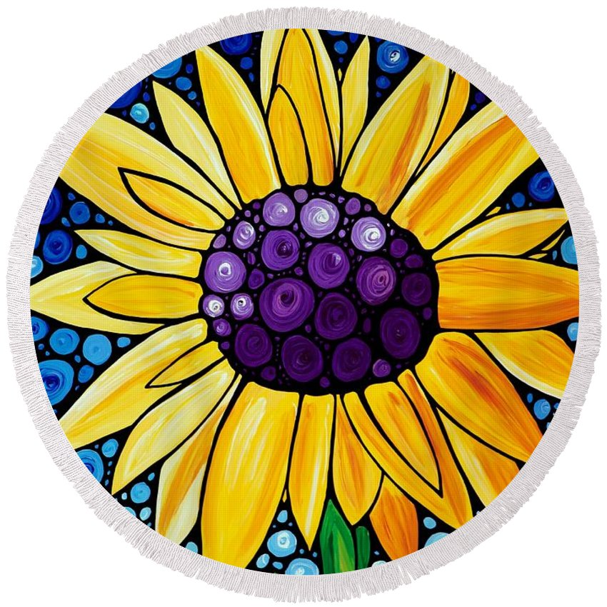 Floral Art Round Beach Towel featuring the painting Basking In The Glory by Sharon Cummings