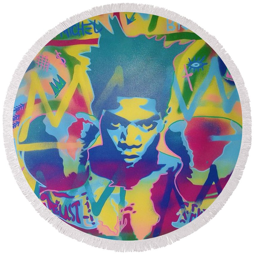 Andy Warhol Round Beach Towel featuring the painting Basquiat by Leon Keay