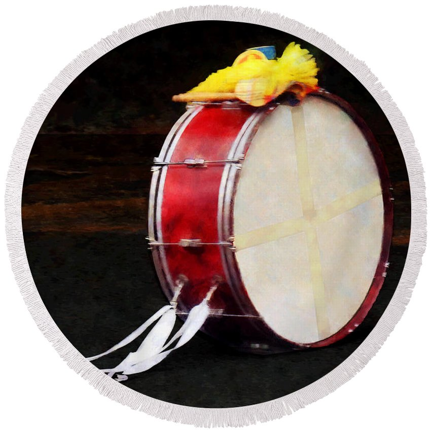 Drum Round Beach Towel featuring the photograph Bass Drum At Parade by Susan Savad