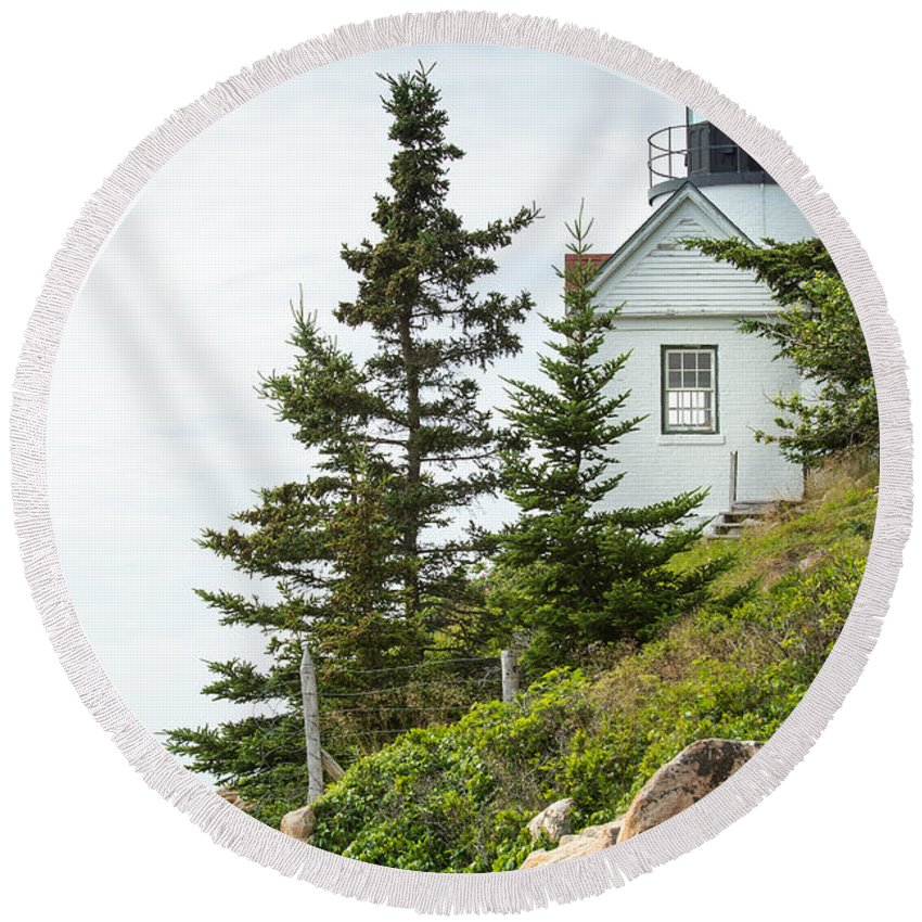 Mount Desert Island Round Beach Towel featuring the photograph Bass Harbor Light Station Overlooking The Bay by John M Bailey