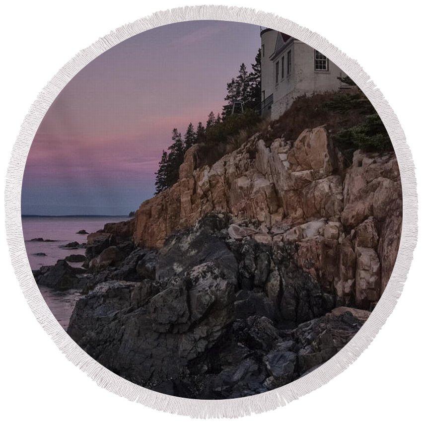 Rocks Round Beach Towel featuring the photograph Bass Head Lighthouse Sunrise by Erika Fawcett