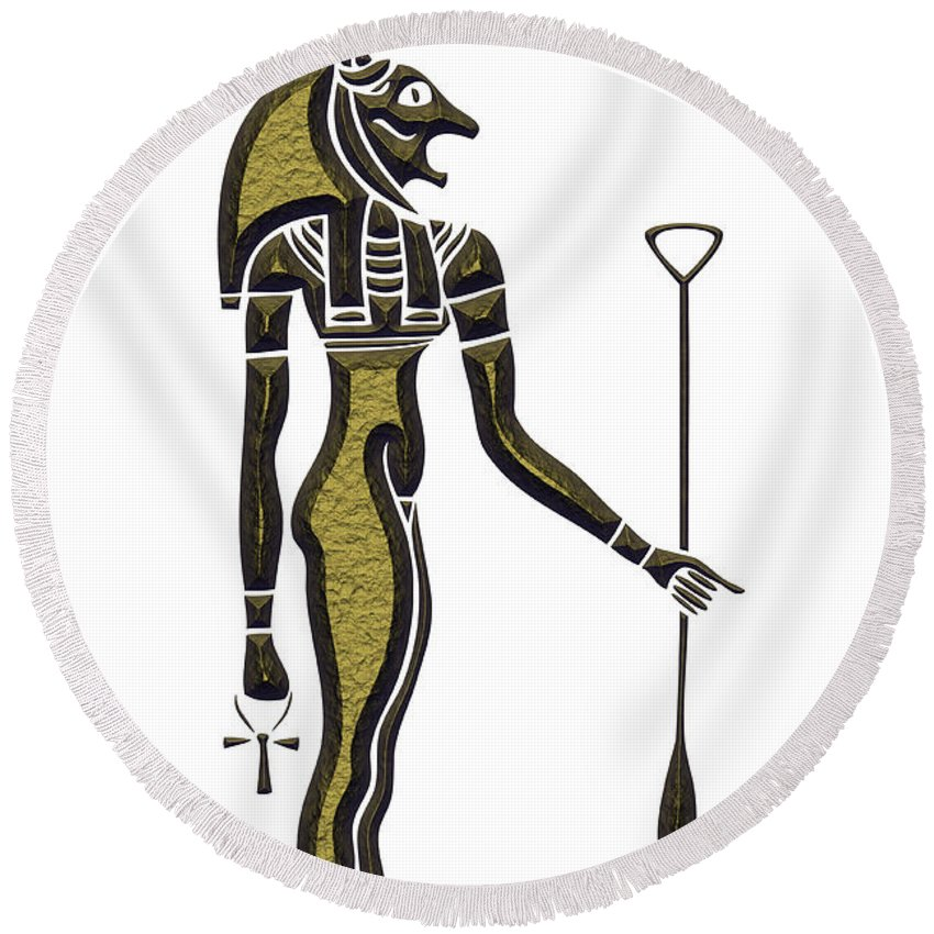 Africa Round Beach Towel featuring the digital art Bastet - Goddess Of Ancient Egypt by Michal Boubin
