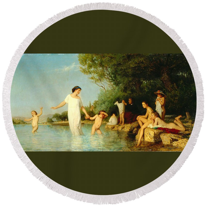 Albert Anker Round Beach Towel featuring the painting Bathers by Albert Anker