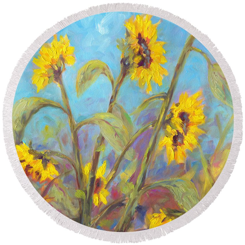 Sunflower Round Beach Towel featuring the painting Bathing Beauties by Jeff Pittman