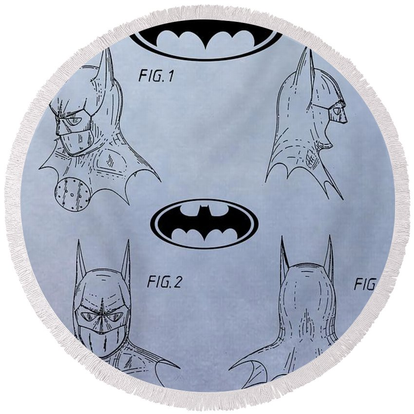Batman Mask Patent Round Beach Towel featuring the digital art Batman Mask Patent by Dan Sproul