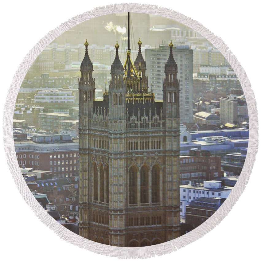 London Round Beach Towel featuring the photograph Battersea Power Station And Victoria Tower London by Terri Waters