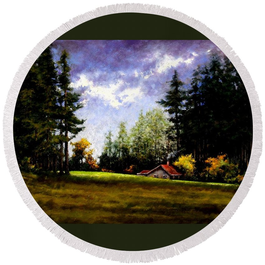 Landscape Round Beach Towel featuring the painting Battle Ground Park by Jim Gola