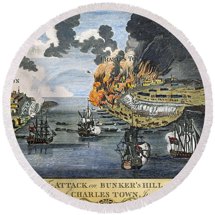 1775 Round Beach Towel featuring the photograph Battle Of Bunker Hill, 1775 by Granger
