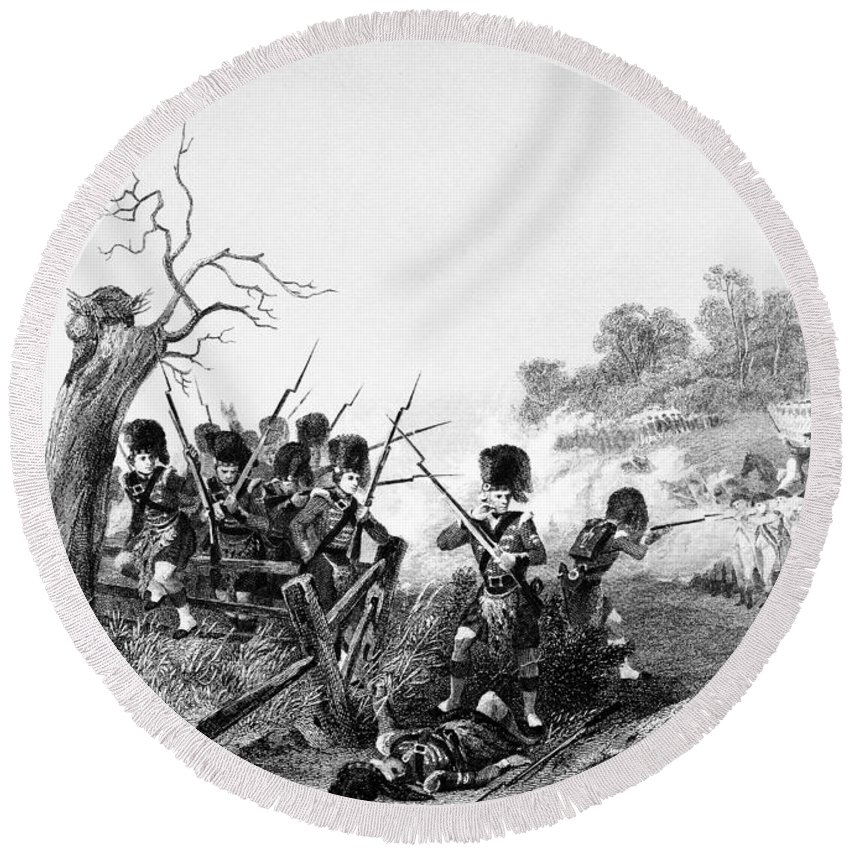 1776 Round Beach Towel featuring the photograph Battle Of Harlem, 1776 by Granger