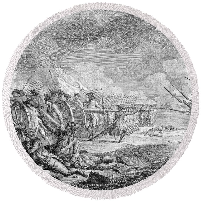 Battle Round Beach Towel featuring the photograph Battle Of Lexington, April 19th 1775, From Recueil Destampes By Nicholas Ponce, Engraved by Francois Godefroy