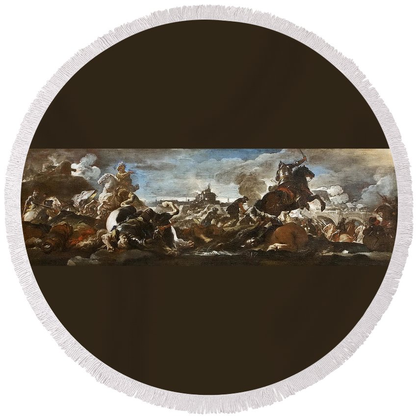 Luca Giordano Round Beach Towel featuring the painting Battle Of Saint-quentin by Luca Giordano