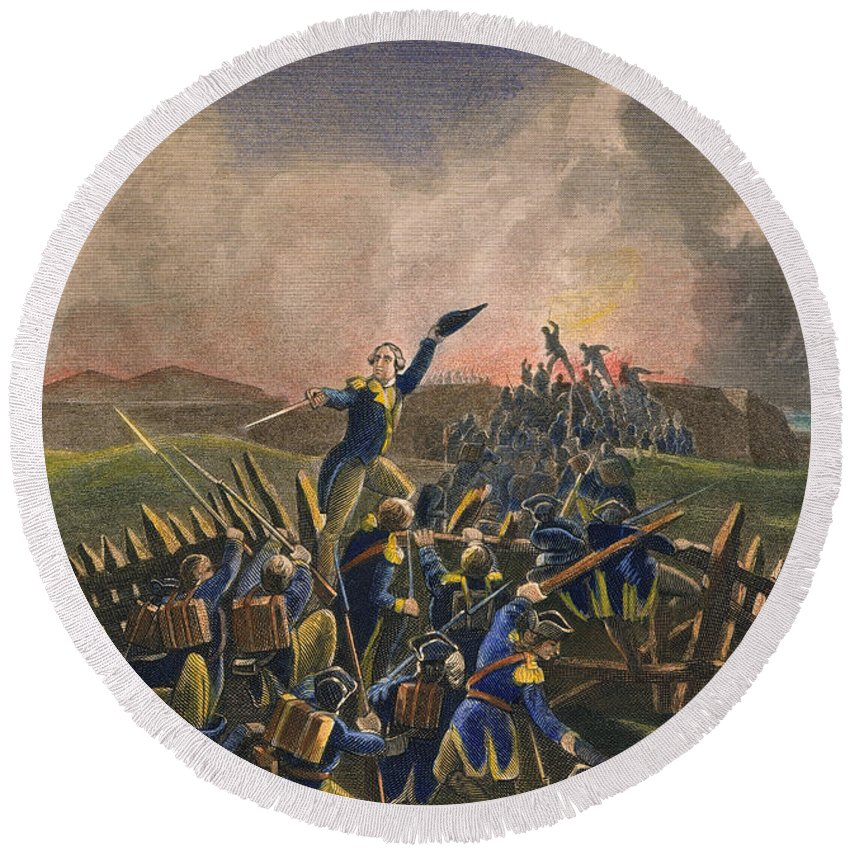 1779 Round Beach Towel featuring the photograph Battle Of Stony Point, 1779 by Granger