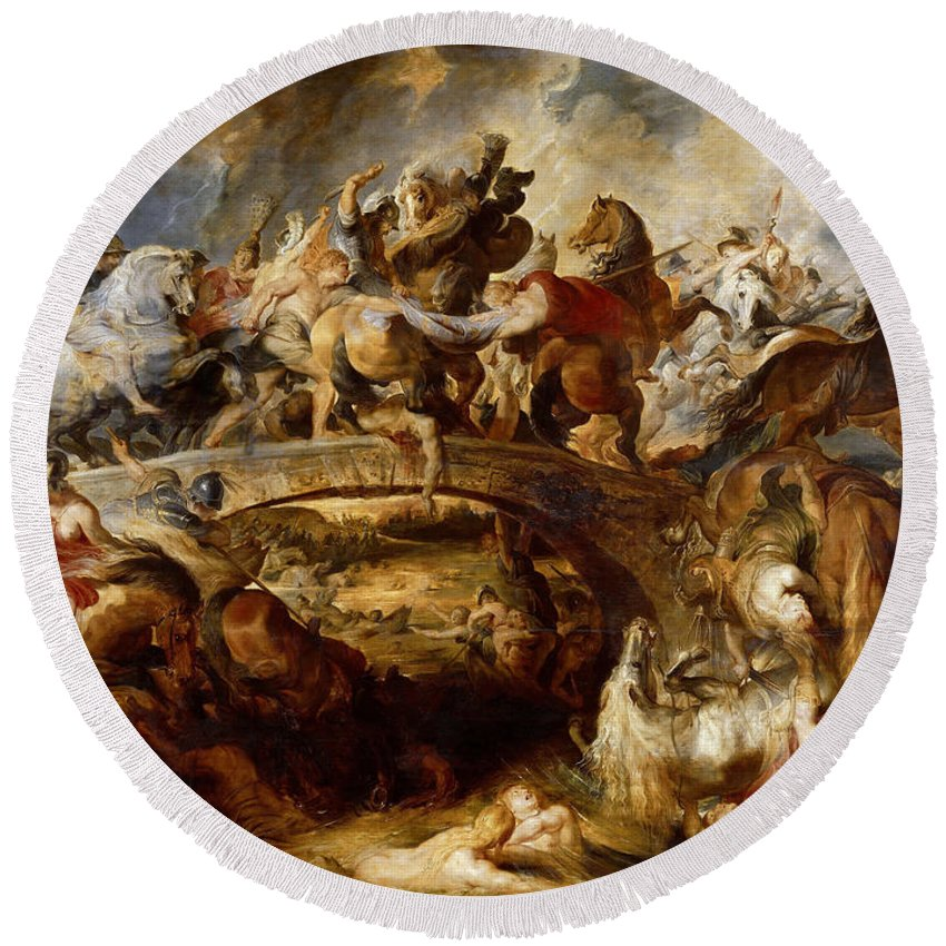 Peter Paul Rubens Round Beach Towel featuring the painting Battle Of The Amazons by Peter Paul Rubens