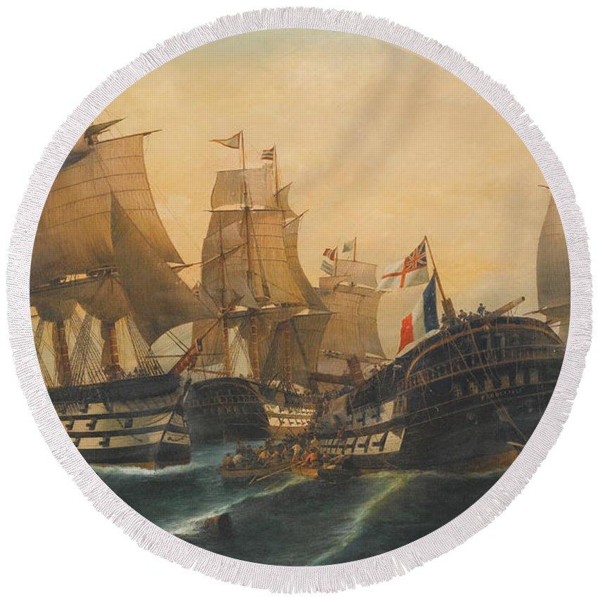 Konstantinos Volanakis Battle Of Trafalgar Round Beach Towel featuring the painting Battle Of Trafalgar by Konstantinos Volanakis