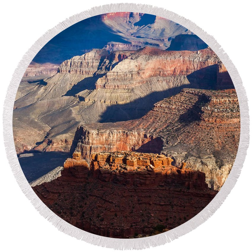 Arizona Round Beach Towel featuring the photograph Battleship Rock At The Grand Canyon by Ed Gleichman