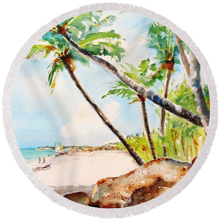 Tropical Beach Round Beach Towel featuring the painting Bavaro Tropical Sandy Beach by Carlin Blahnik CarlinArtWatercolor