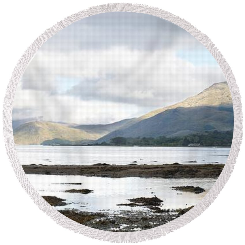 Bay Round Beach Towel featuring the photograph Bay Reflections by Wendy Wilton