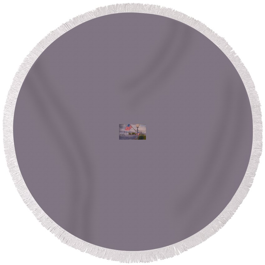 Rick Huotari Round Beach Towel featuring the painting Bayfield On The 4th by Rick Huotari