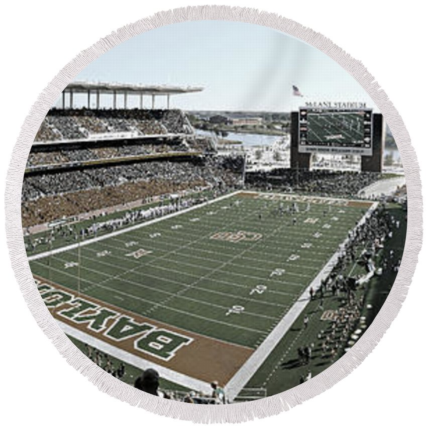 Baylor Round Beach Towel featuring the photograph Baylor Gameday No 4 by Stephen Stookey