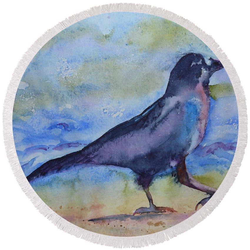 Crow Round Beach Towel featuring the painting Bayside Strut by Beverley Harper Tinsley