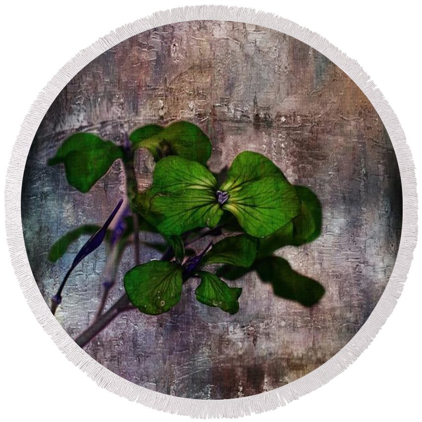 Flowers Round Beach Towel featuring the mixed media Be Green by Aaron Berg