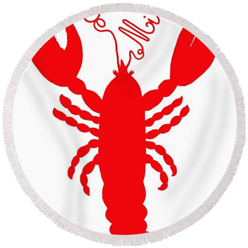 Be Mine Lobster With Feelers 20150207 � Julie Knapp Round Beach Towel featuring the digital art Be Mine Lobster With Feelers 20150207 by Julie Knapp