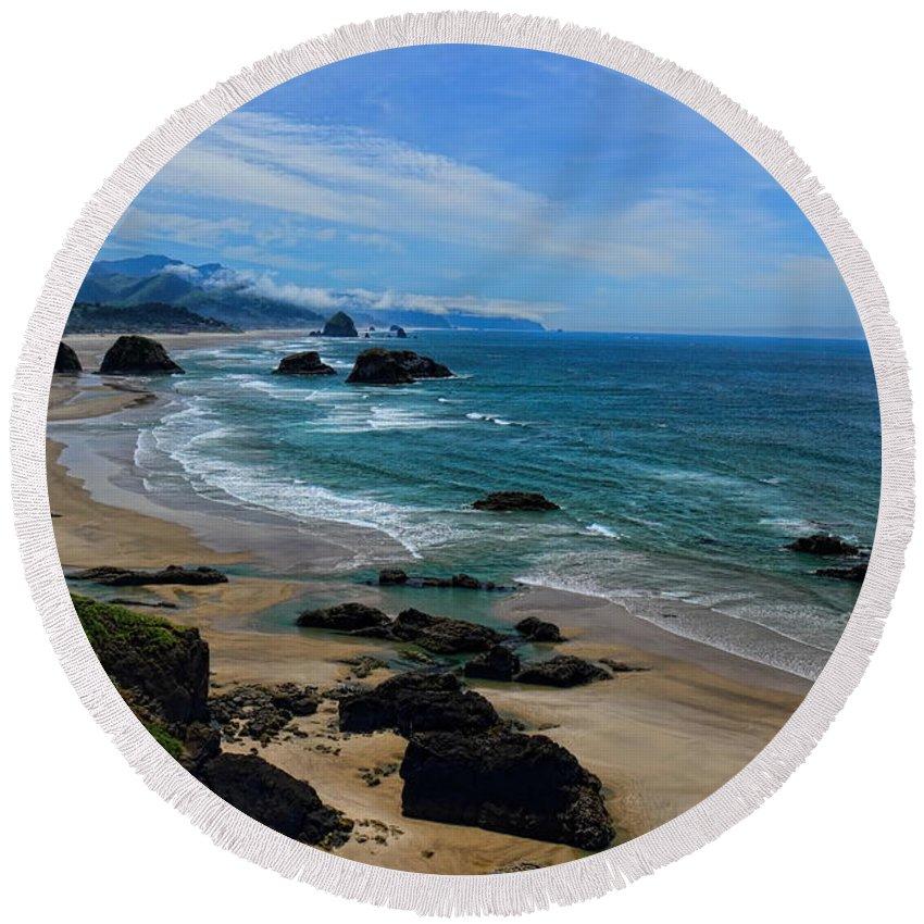 Dale Kauzlaric Round Beach Towel featuring the photograph Beach At Ecola State Park by Dale Kauzlaric