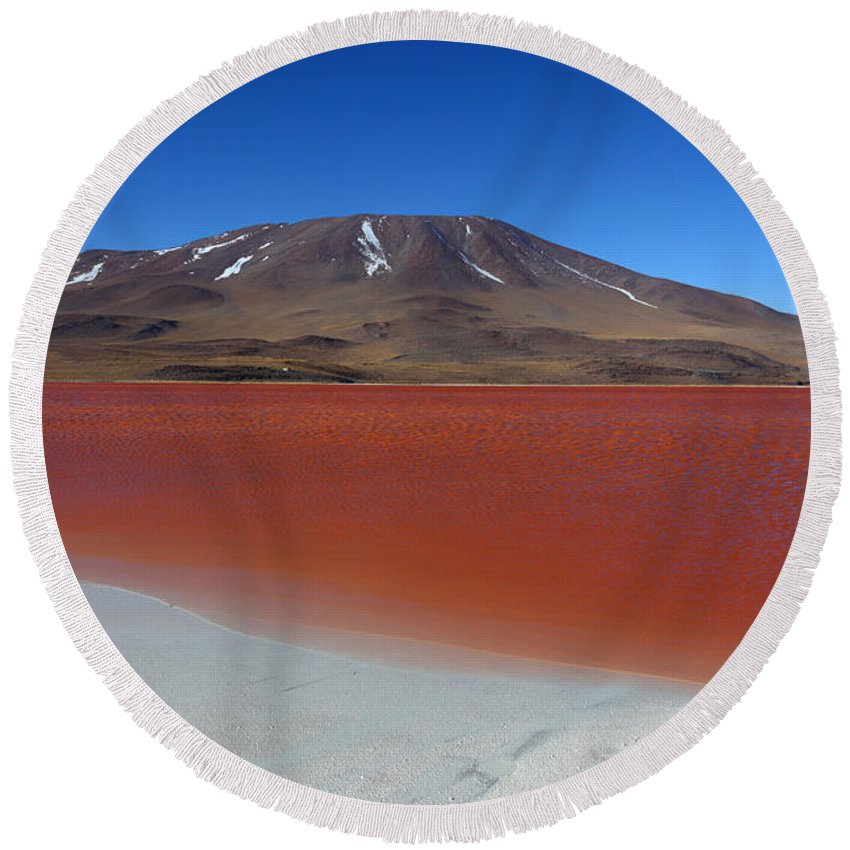 Landscape Round Beach Towel featuring the photograph Beach At Laguna Colorada by James Brunker