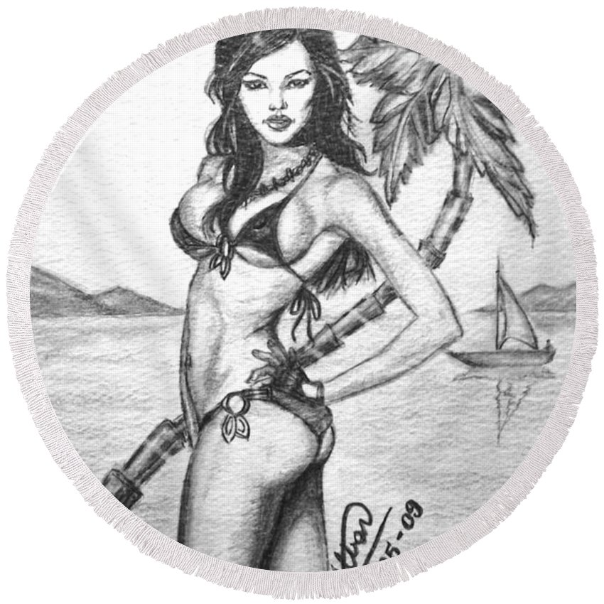 Pinup Art Round Beach Towel featuring the drawing Beach Babe Model by Alban Dizdari