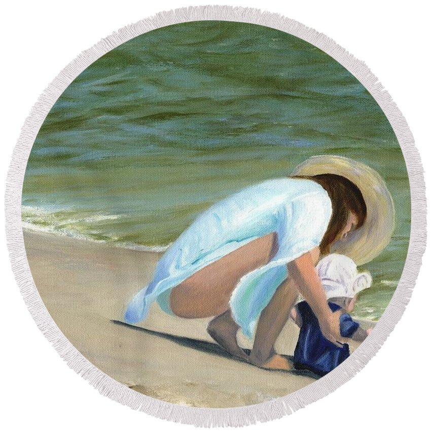 Beach Scenes Round Beach Towel featuring the painting Beach Baby by Deborah Butts