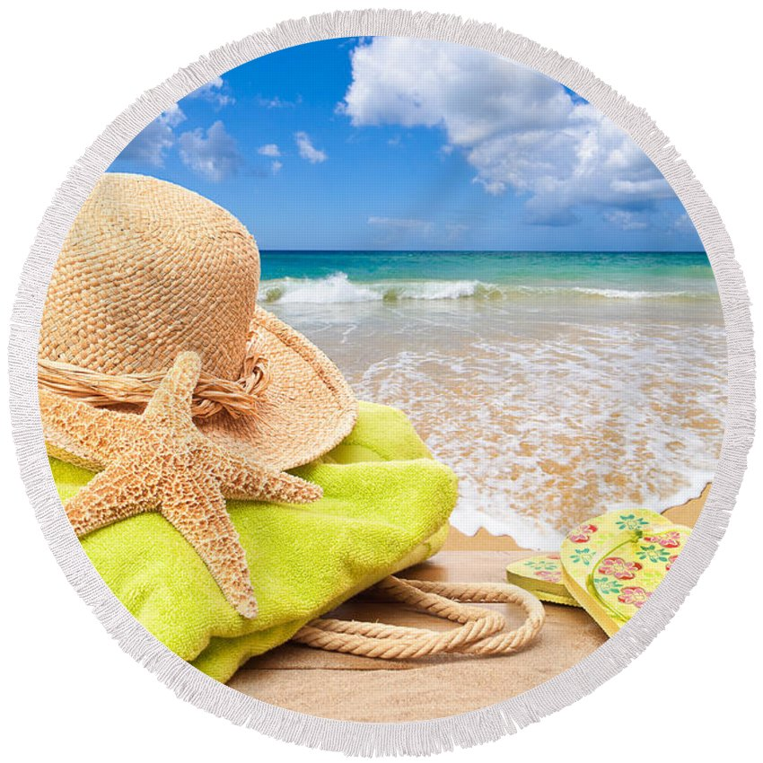 Summer Round Beach Towel featuring the photograph Beach Bag With Sun Hat by Amanda Elwell