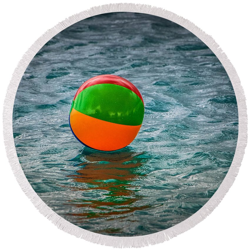 Beach Ball Round Beach Towel featuring the photograph Beach Ball Float by Grace Grogan