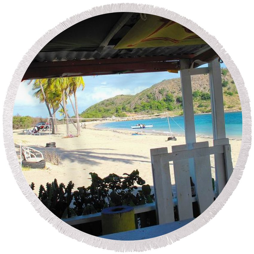 St Kitts Round Beach Towel featuring the photograph Beach Bar In January by Ian MacDonald