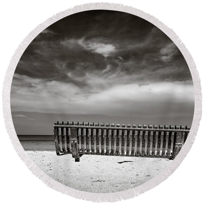Jamaica Round Beach Towel featuring the photograph Beach Bench by Dave Bowman