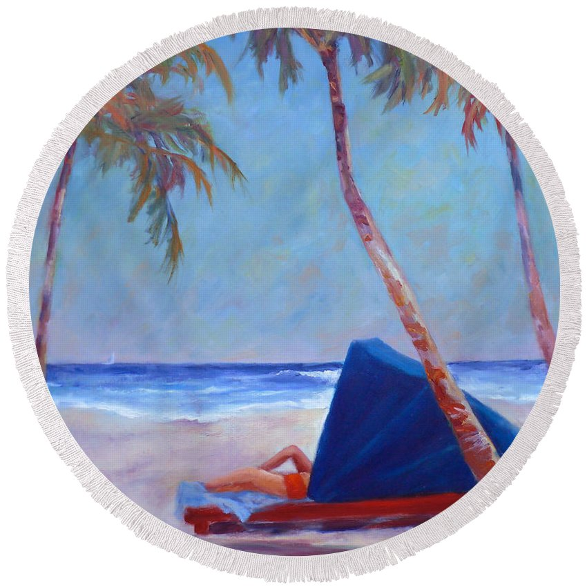 Hi Round Beach Towel featuring the painting Beach Cabana by Carolyn Jarvis