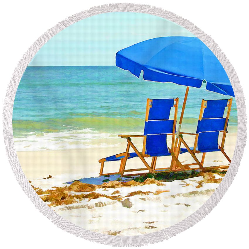 Ocean Round Beach Towel featuring the painting Beach Chairs And Umbrella by Elaine Plesser