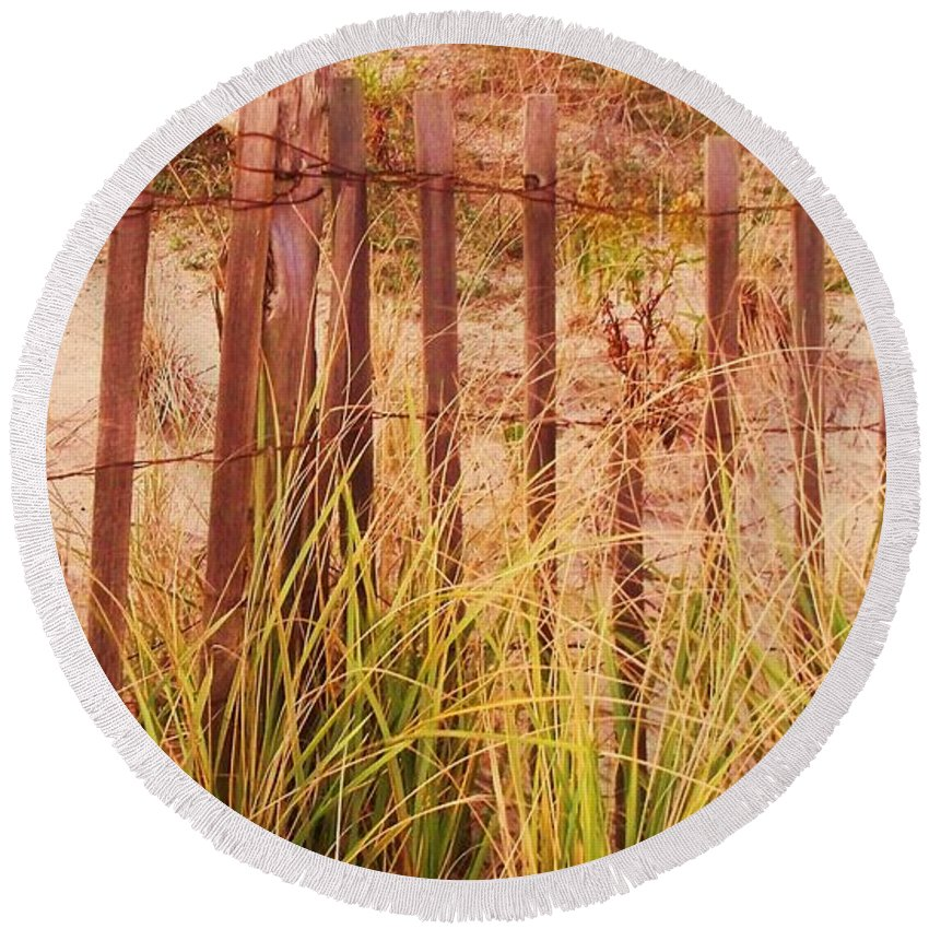 Beach Round Beach Towel featuring the photograph Beach Dune Fence At Cape May Nj by Eric Schiabor