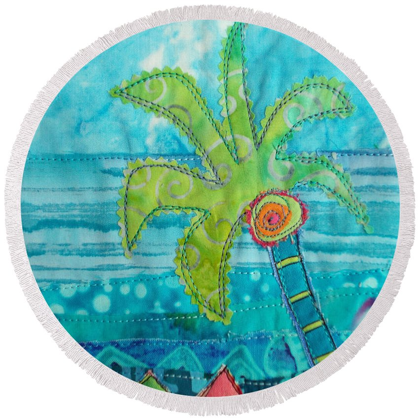 Palm Tree Round Beach Towel featuring the painting Beach Fest by Susan Rienzo