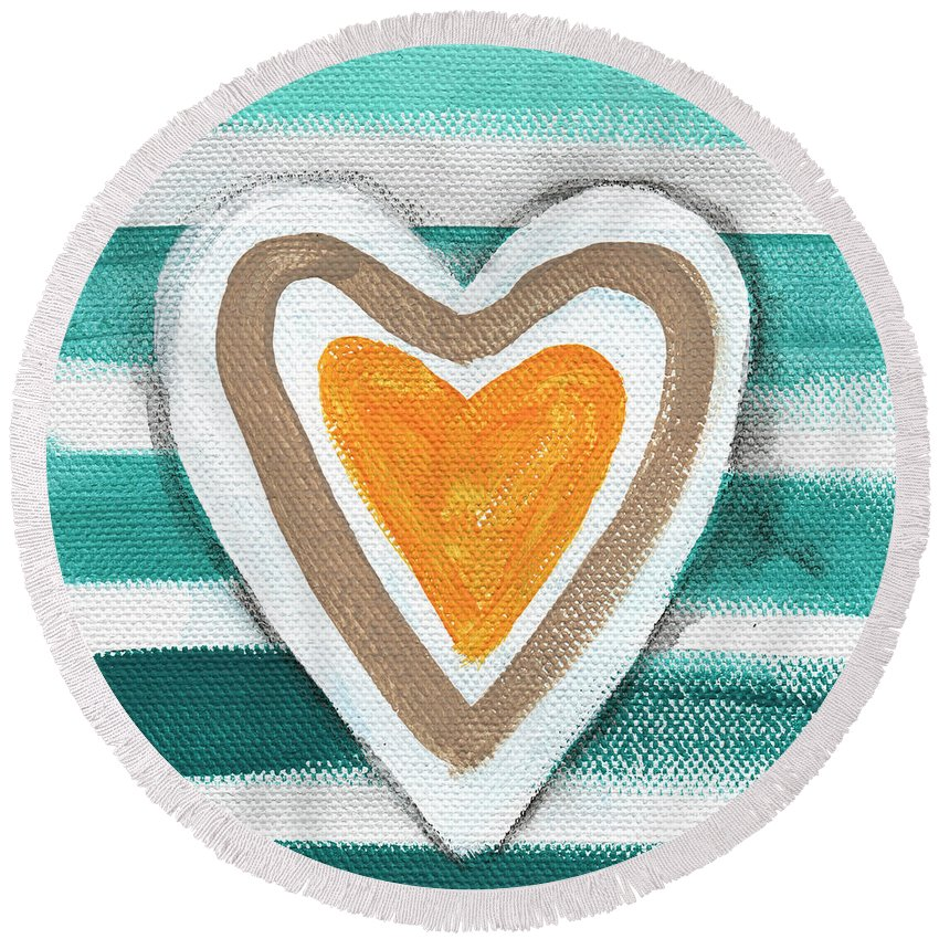 Hearts Round Beach Towel featuring the painting Beach Glass Hearts by Linda Woods