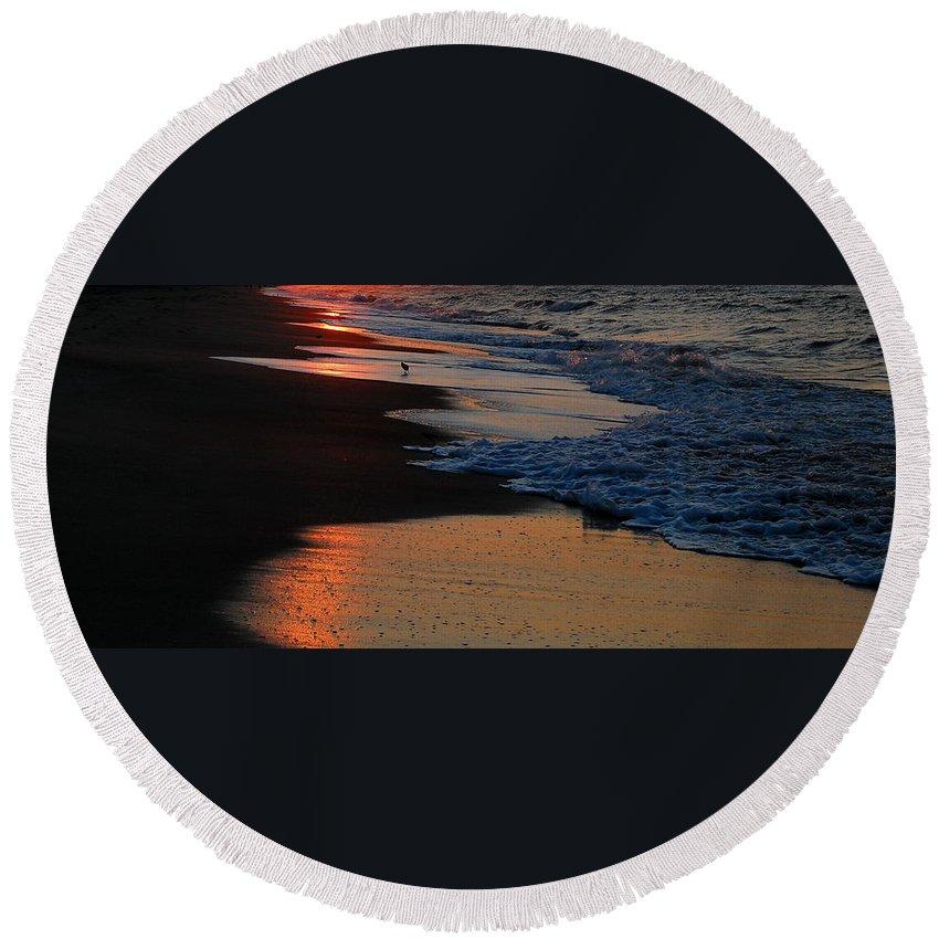 Beach Round Beach Towel featuring the photograph Beach Glow by Mim White